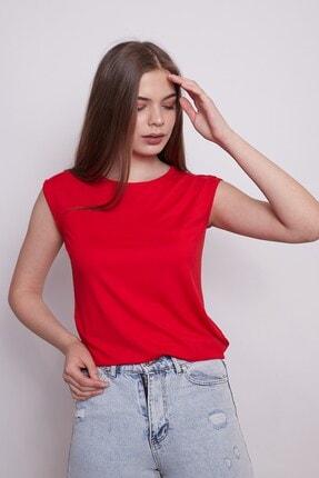 Jument Kadın Geniş Sıfır Yaka Düşük Omuzlu Penye Likralı Kolsuz Bluz -kırmızı