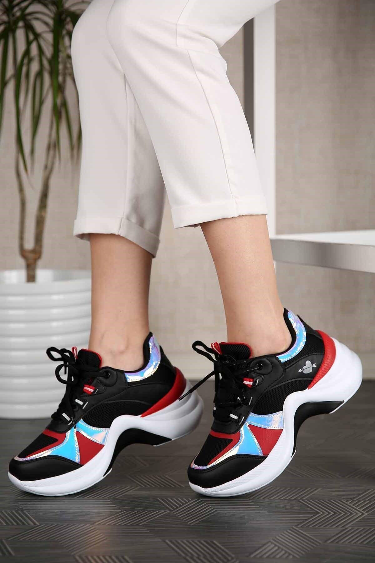 Twingo Kadın Siyah Kırmızı Sneaker 1