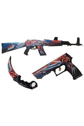 Hediyenealsak Renkli Ahşap Cs-go Ak-47 Tüfek P250 Tabanca Karambit Oyuncak Set 4008