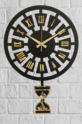 Sokaktaki Hediyem Modern Zaman Altın Premium Sallanır Sarkaçlı Duvar Saati