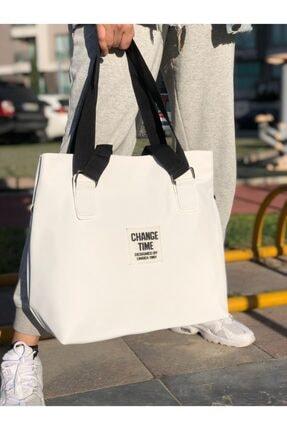Lebina Kadın Beyaz Shopper Omuz Çantası