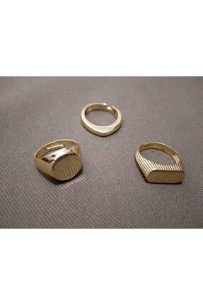 ENG JEWELRY Üçlü Gold Ayarlanabilir Yüzük Seti