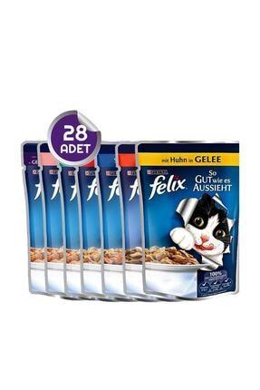 FELIX Pouch Yaş Kedi Maması Karışık Paket 28 Adet