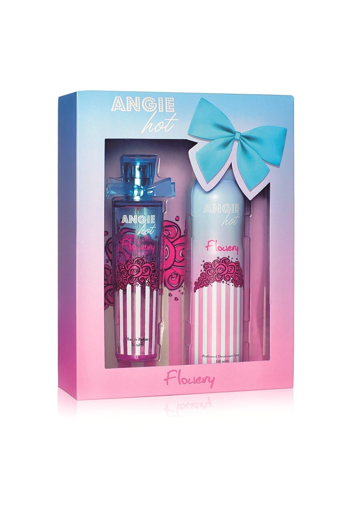 Rebul Angie Hot Flowery Edp 50 ml + Deodorant 150 ml Kadın Parfüm Seti 8691226601076 1