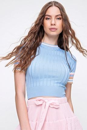 Trend Alaçatı Stili Kadın Mavi Kolları Renk Bloklu Fitilli Triko Crop Bluz ALC-X6237