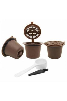 Nespresso Tekrar Kullanılabilir Kahve Kapsülü Hazneleri , 3 Adet Hazne , Kepçe Ve Fırçası