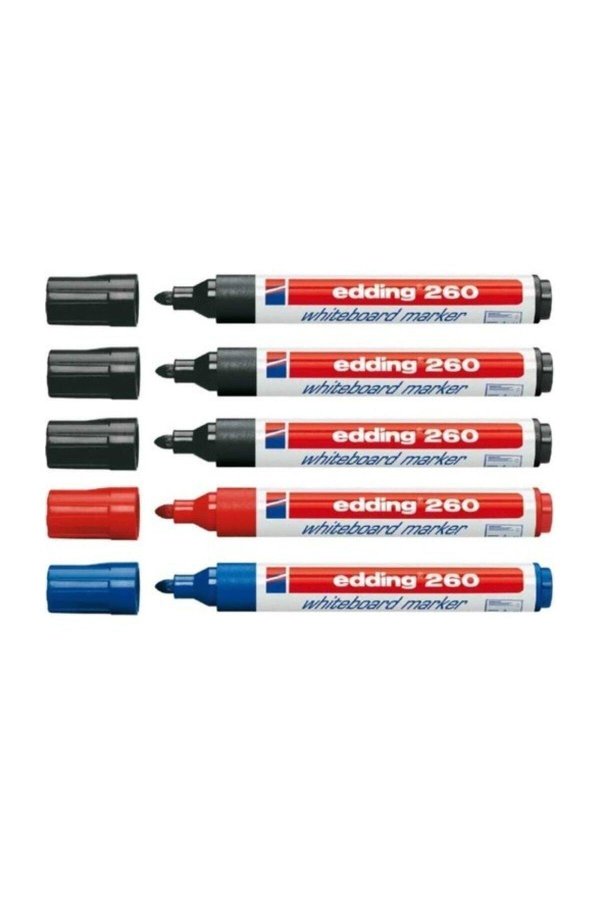 Edding 260 Beyaz Tahta Kalemi 3 Siyah 1 Mavi 1 Kırmızı 1