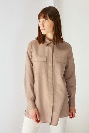 Trendyol Modest Kahverengi Gömlek Yaka Tunik TCTSS21TN0058