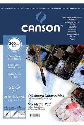 Canson Fıneface Çok Amaçlı Resim Blokları 200gr A4 20yp Üstten Spiralli