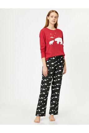Koton Kadın Kırmızı Desenli Pijama Takımı 0KLK79241MK