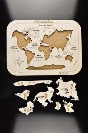 Femusa Ahşap Yapboz Dünya Haritası Kıtaları Öğreniyorum