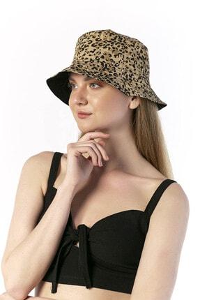 Y-London 14017 Leopar Desenli Çift Taraflı Camel Bucket Şapka