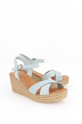 Deripabuc Hakiki Deri Mavi Kadın Dolgu Topuklu Deri Sandalet Dp55-2627