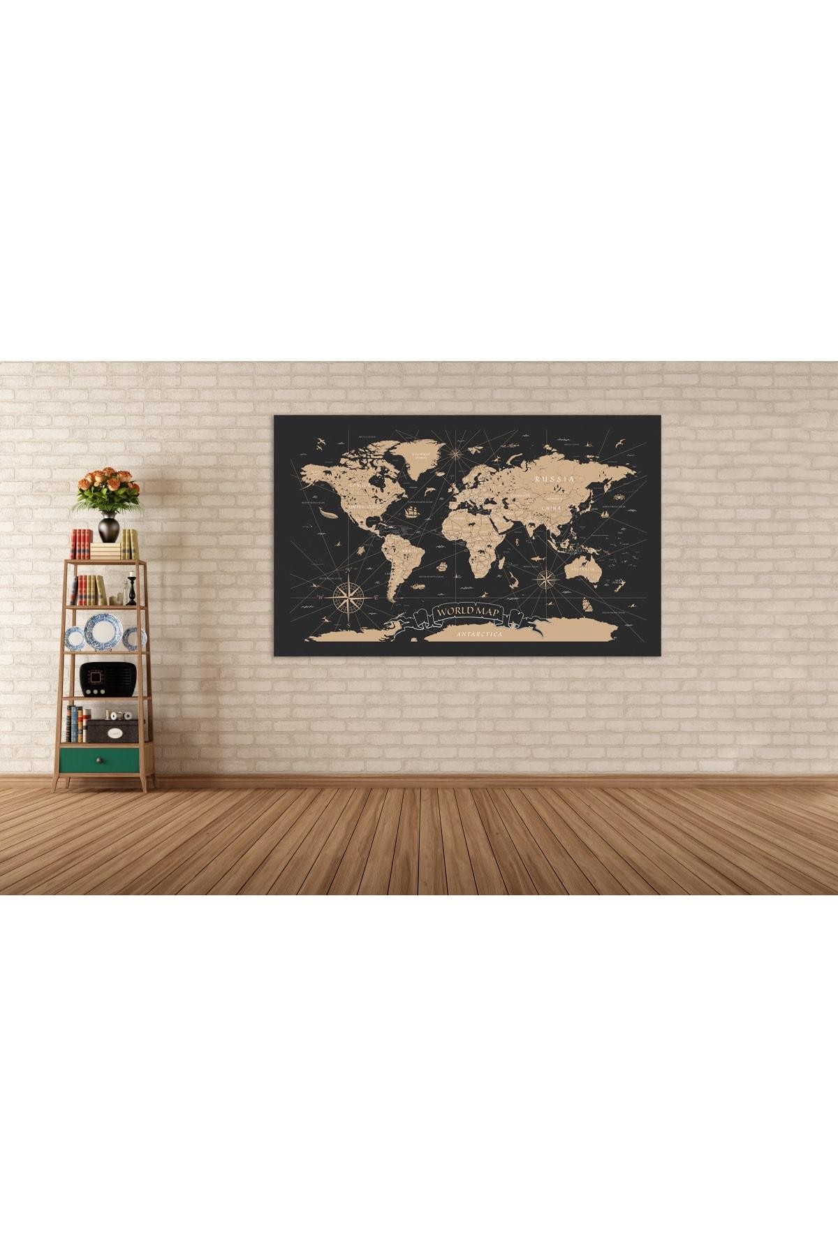 Zeta Aks Dünya Haritası Altın Detaylı Tek Parça %100 Cotton Canvas Tablo 1