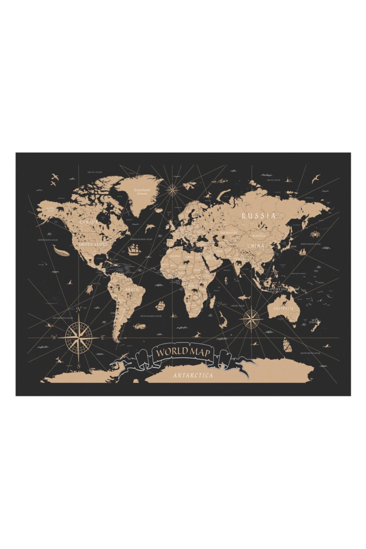 Zeta Aks Dünya Haritası Altın Detaylı Tek Parça %100 Cotton Canvas Tablo 2