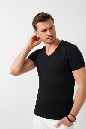 Buratti Erkek Siyah Pamuklu V Yaka Basic T-Shirt 5412001