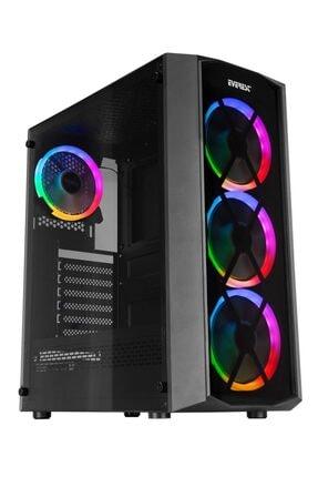 Everest Flat Glass 4 Adet 12cm Rainbow Fan Tempered Camlı Gaming Oyuncu Bilgisayar Kasası