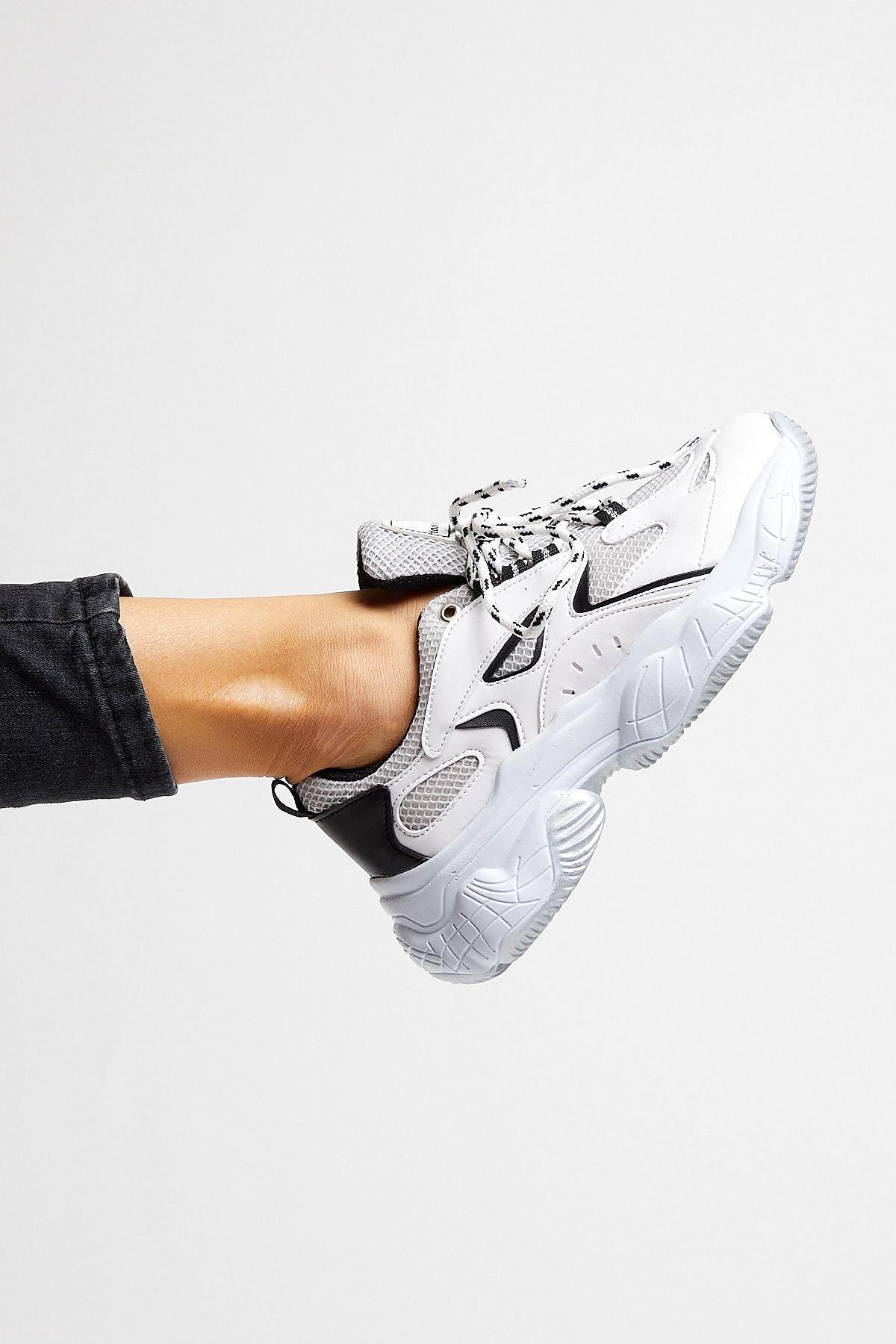 Tonny Black Kadın Spor Ayakkabı Beyaz Siyah Tb288 1