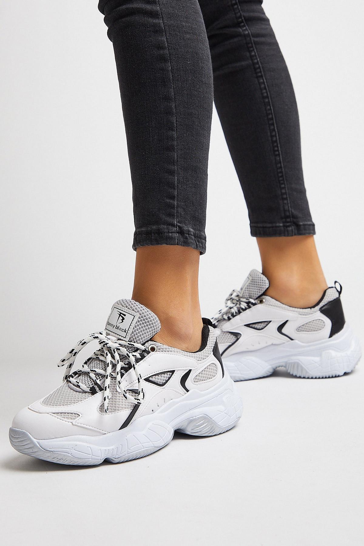 Tonny Black Kadın Spor Ayakkabı Beyaz Siyah Tb288 2