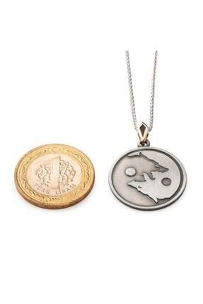 Anı Yüzük Kurt Yang Tasarımlı Gümüş Erkek Madalyon Kolye