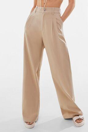 Bershka Kadın Bej Pensli Wide Leg Pamuklu Pantolon