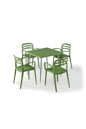 Novussi Aspendos 4 Sandalyeli Masa Takımı Bahçe Oturma Seti
