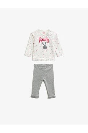 Koton Kız Bebek Antrasit Desenli Bebek Takımları
