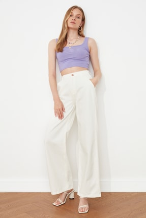 TRENDYOLMİLLA Beyaz Yüksek Bel Wide Leg Jeans TWOSS21JE0491