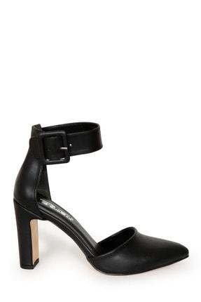 PUNTO Kadın Siyah Bilekten Bağlamalı Topuklu Ayakkabı