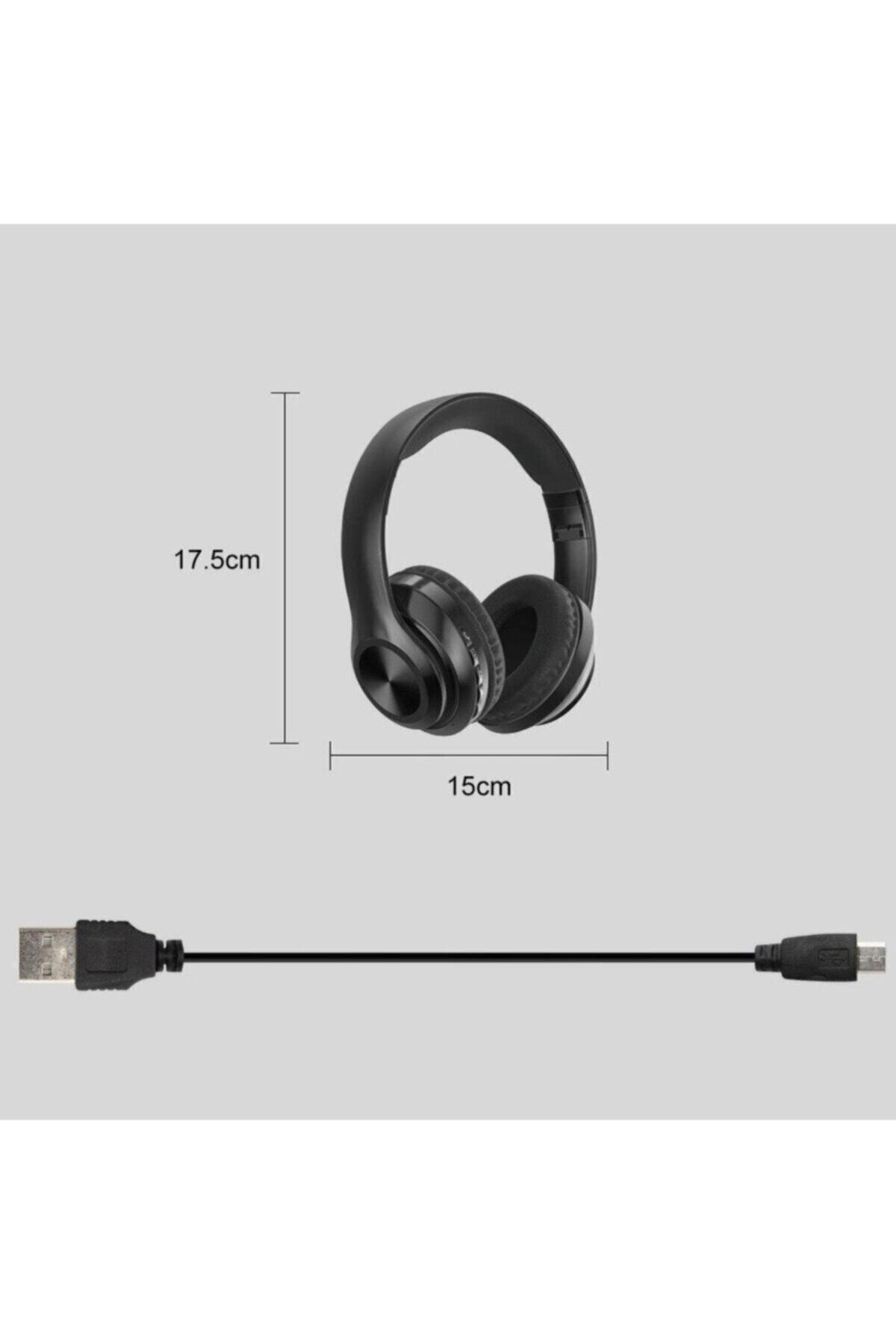 Universal P68 Bluetooth Kablosuz Stereo Kulaklık - Siyah 2
