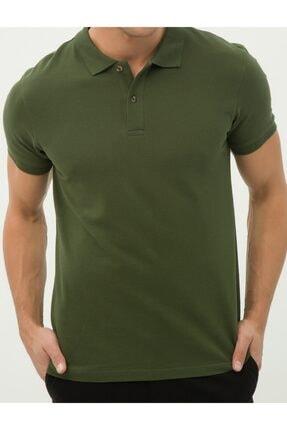 MCM Shopping Erkek Haki Slim Fit Dokulu Polo Yaka T-shirt