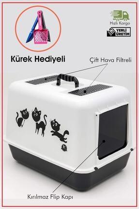 Çiftsan Hediyeli Kapalı Kedi Tuvalet Kabı 54,5 X 39,5 X 39 Cm Kırılmaz Flip Kapak Kürek Hediyeli