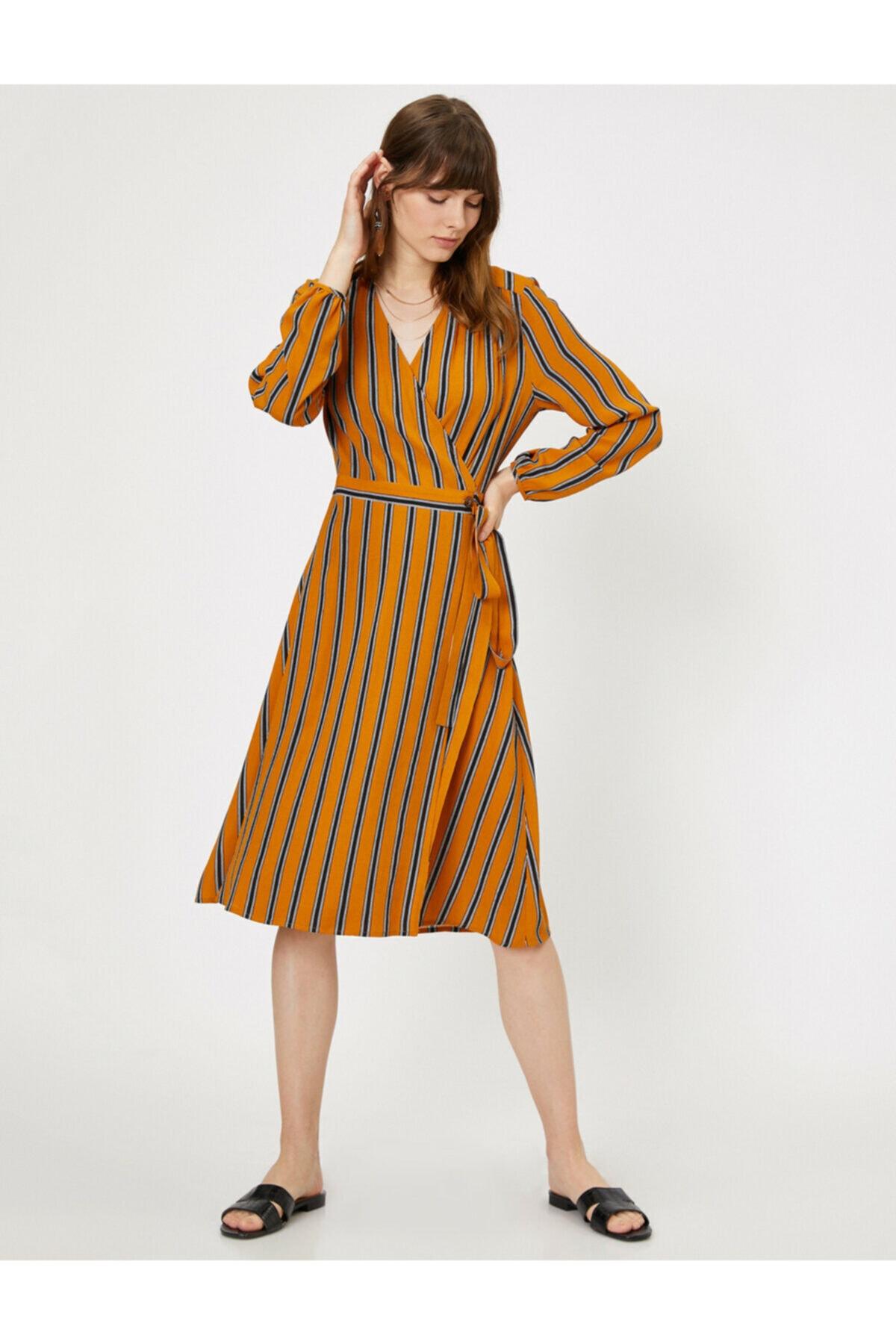 Koton Kadın Sarı Çizgili Elbise 0KAK86834IW 2