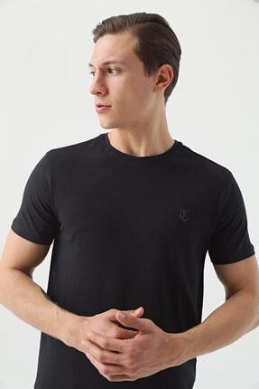 D'S Damat Erkek Siyah Düz Twn Slim Fit T-shirt