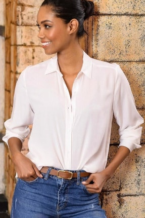 Mossta Kadın Beyaz Basic Gömlek