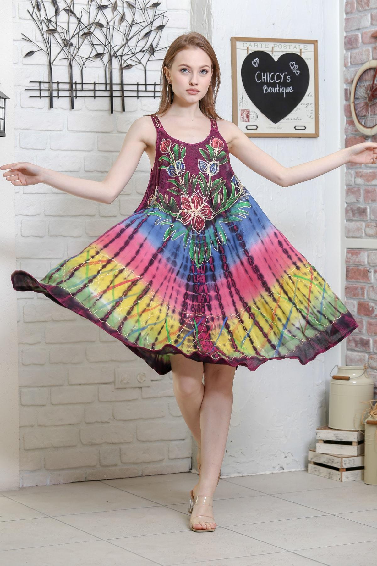 Chiccy Kadın Mürdüm Batik Zambak Desenli Salaş Dokuma Elbise M10160000EL95129