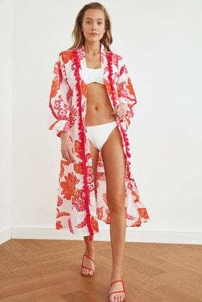 TRENDYOLMİLLA Turuncu Çiçek Desenli Kimono&Kaftan TBESS21KM0020