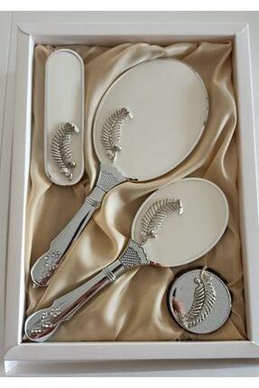 Lamazihome Krem Ayna Tarak Takımı Elbise Fırçası Bohça Çeyiz Seti Ayna Tarak 4 Parça