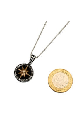 Anı Yüzük 925 Ayar Gümüş Kuzey Yıldızı Pusula Kolyesi Deri İpli