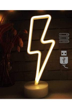 REWEL Büyük Boy Usb'li Sarı Şimşek Neon Led Işıklı Masa Ve Gece Lambası Dekoratif Aydınlatma