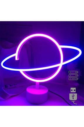 REWEL Büyük Boy Usb'li Satürn Gezegen Neon Led Işıklı Masa Ve Gece Lambası Dekoratif Aydınlatma