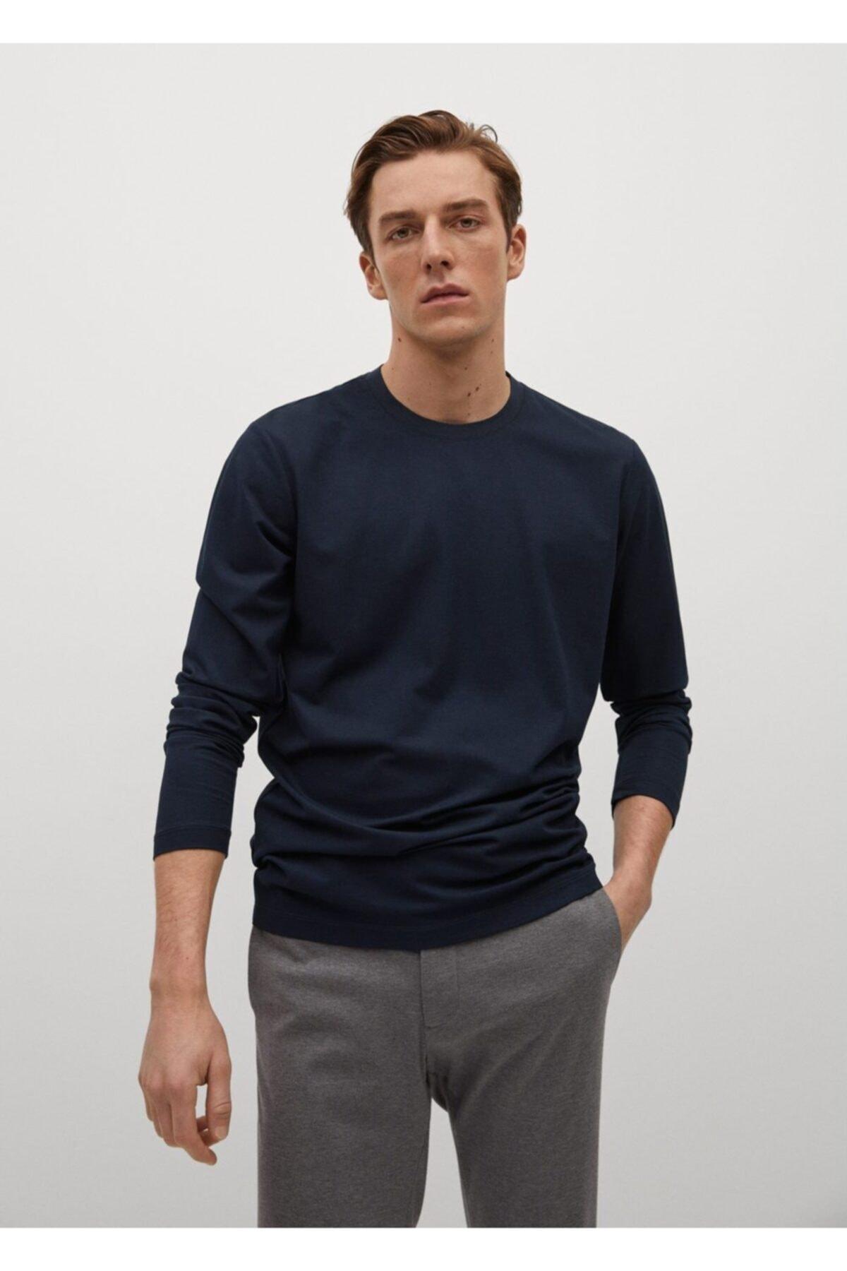 MANGO Man Teknik Kumaşlı Uzun Kollu Tişört 1