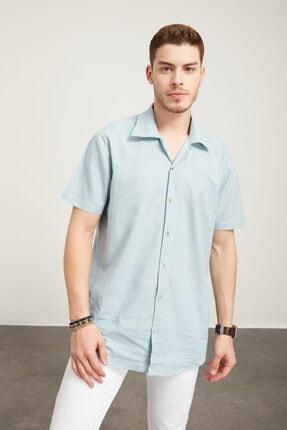 TENA MODA Erkek Aqua Kısa Kollu Apaş Yaka Regular Keten Gömlek