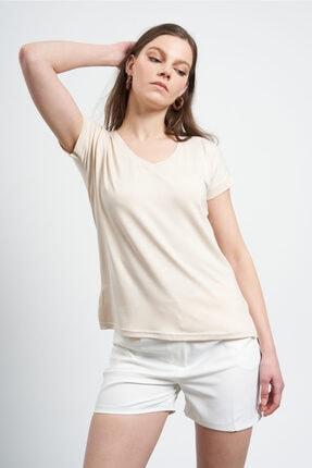 TENA MODA Kadın Bej V Yaka Geniş Salaş Tişört