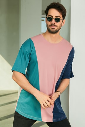 Sateen Men Erkek Pudra Oversize Parçalı T-Shirt