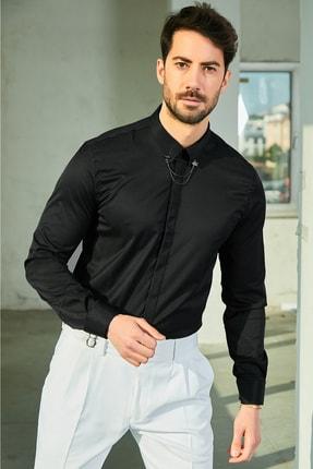 Sateen Men Erkek Siyah Iğneli Pamuk Gömlek