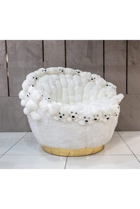 F&B Dizayn Beyaz Ayıcıklı Berjer