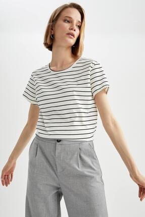 DeFacto Kadın Regular Fit Çizgili Kısa Kol Tişört