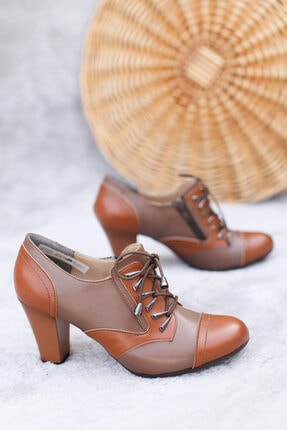 PUNTO Kadın Vizon Bağcıklı Topuklu Ayakkabı