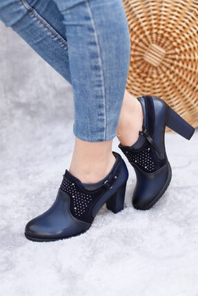 PUNTO Kadın Lacivert Mevsimlik Butik Topuklu Ayakkabı